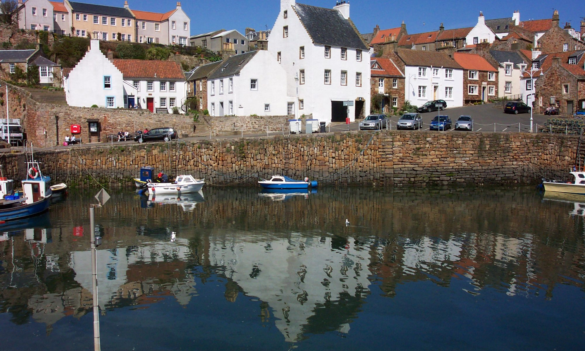 Crail Harbour on a sunny day