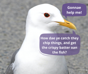 Seagull - can you help me? How do you catch they chip things and get the crispy batter on the fish?