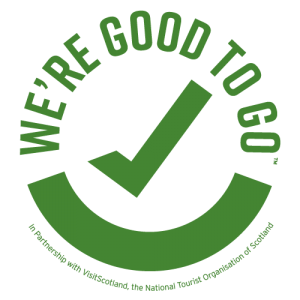 COVID 19 Good to Go Logo - in partnership with Visit Scotland, the national tourist association of Scotland